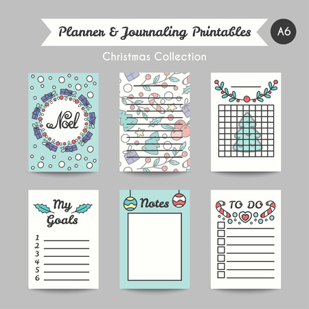christmas list: Christmas Printable Journaling Cards. Line Style Bullet Jornal Pages with Winter Season Illustrations. Vector Set of Notes and To Do List. Planner for Goals.