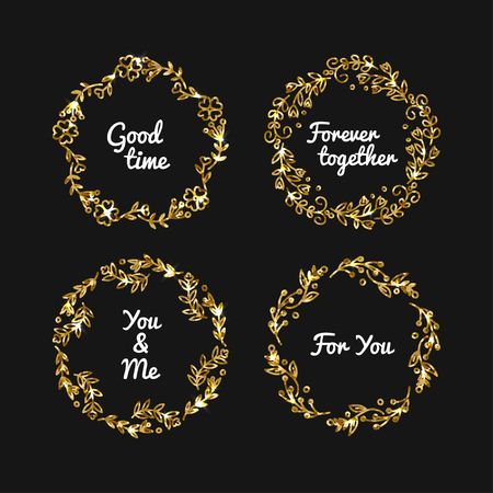 Vector golden glitter frame. Vintage gold frames illustration. Banner with sparkles. Luxury bages with glowing effect. Shiny decorative elements design.