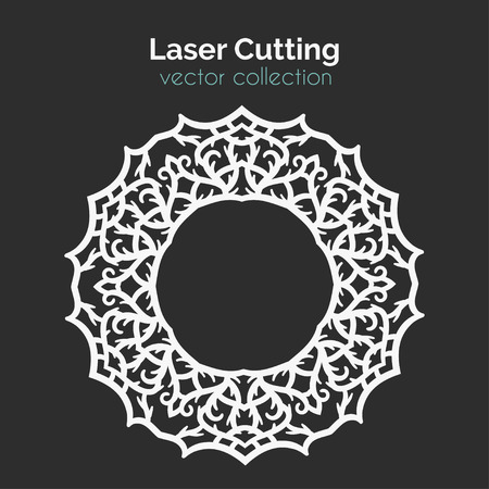 Laser Cutting Template. Round Card. Die Cut Mangala. Cutout Illustration With Ornamental Lace Decoration For Wedding Invitation Cards. Vector Design. Illustration