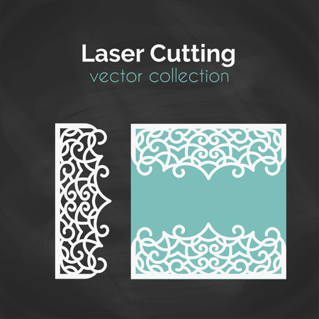 cameo: Laser Cut Card. Template For Laser Cutting. Cutout Illustration With Crown Decoration. Die Cut Wedding Invitation Card. Vector Envelope Design.