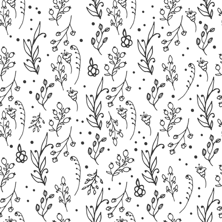 wild flowers: Floral seamless pattern. Herbs and wild flowers print. Abstract hand sketched floral collection. Lovely flowers and leaves branches vector illustration.