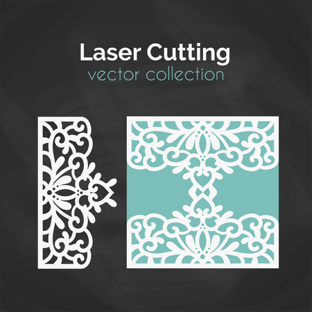 cameo: Laser Cut Template. Card For Laser Cutting. Cutout Illustration With Abstract Decoration. Die Cut Wedding Invitation Card. Vector Envelope Design.