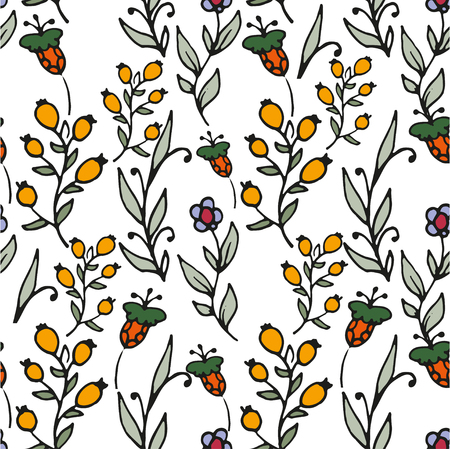 wild flowers: Floral seamless pattern. Herbs and wild flowers print. Herbal tea hand sketched floral print. Lovely flowers and leaves branches vector illustration.