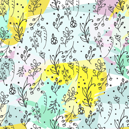 wild flowers: Floral seamless pattern. Herbs and wild flowers print. Collorful splashes hand sketched floral collection. Lovely flowers and leaves branches vector illustration.