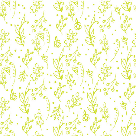 wild flowers: Herbal seamless pattern. Herbs and wild flowers print. Collorful splashes hand sketched floral collection. Lovely flowers and leaves branches vector illustration.