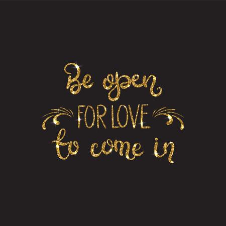 liefde tekst. romantische belettering met glitter. golden tekst met
