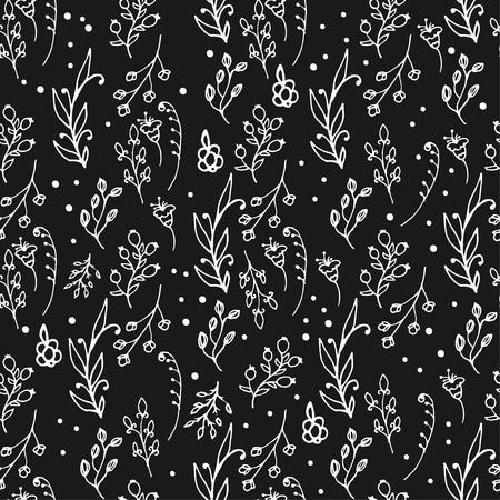 wild flowers: Herbal seamless pattern. Herbs and wild flowers print.