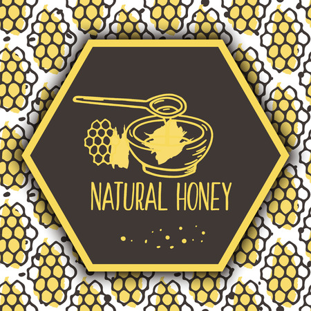 Vector natural honey background. Bio hand drawn design. Comb in sketchy style. Stock Illustratie