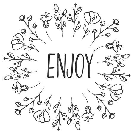 ハーブ フレームをお楽しみください。有機ハーブや野生の花。手は、図をスケッチしました。花と葉の枝。花のベクトルのデザイン。