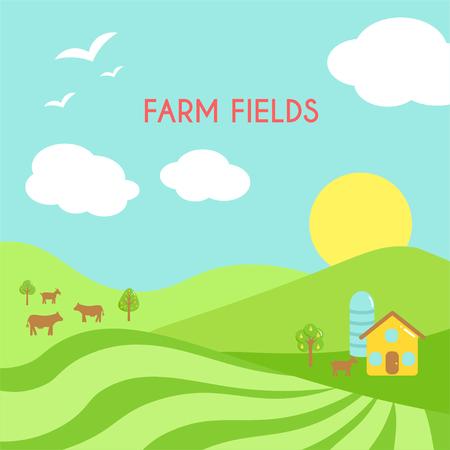 Farm fields landscape. Cartoon green field of sowing.