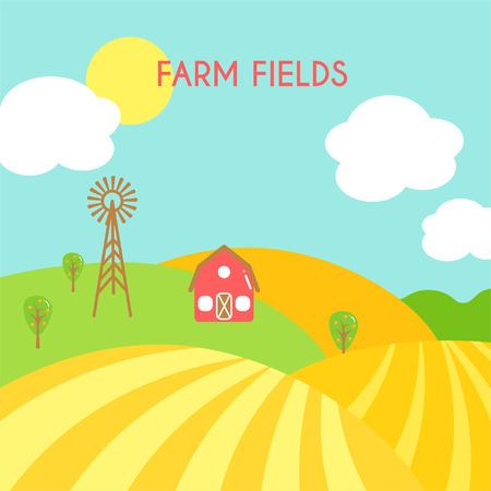 ranch background: Farm fields landscape. Cartoon green field of sowing.