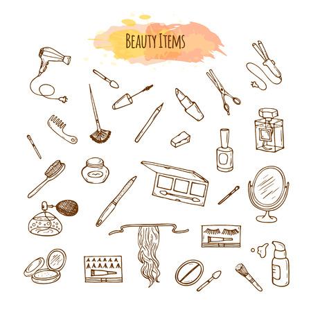 Maquillage main ensemble dessiné. articles de beauté Doodle. Collection de brosses, vernis à ongles, rouges à lèvres. Vector illustration