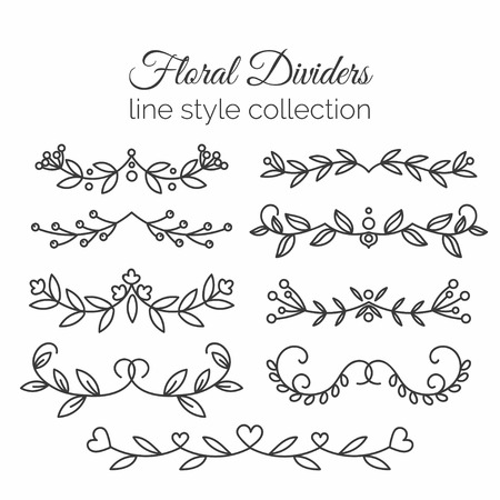 Flourishes. Hand drawn dividers set. Line style decoration. Illustration