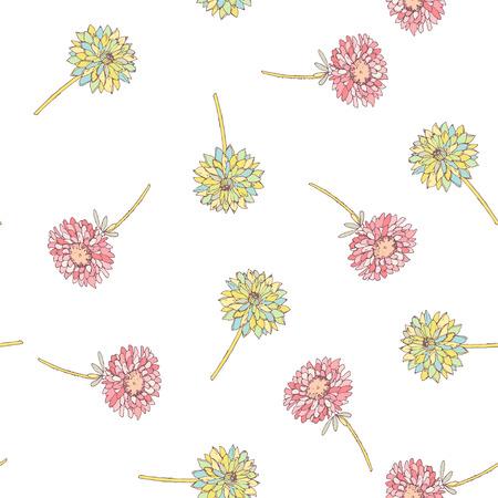 Aster and roses flowes. Round frame card Illustration