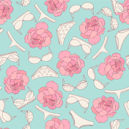 Underwear and rose seamless pattern