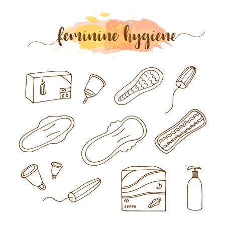 tampon: Menstruation hygiene hand drawn set. Sanitary napkin, pads, panty liners, tampons, menstrual cup. Illustration