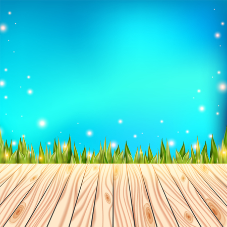 patio deck: Summer background with wooden deck. Wood floor over green grass and blue sky. Abstract vector illustration.