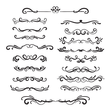 Flourishes vintage. Ornamental borders and dividers, filigree ornament swirls. Victorian decoration elements.