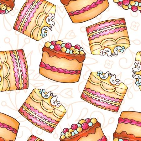 glaze: Cakes seamless pattern illustration.