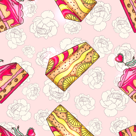 Cakes seamless pattern illustration with peony flowers. Pastry and bakery background. Vector design for baker shop, cafe.