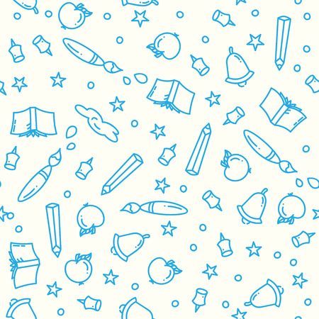 Pattern of back to school with thin line icons school supplies. Education background. Study elements in linear icon art style.