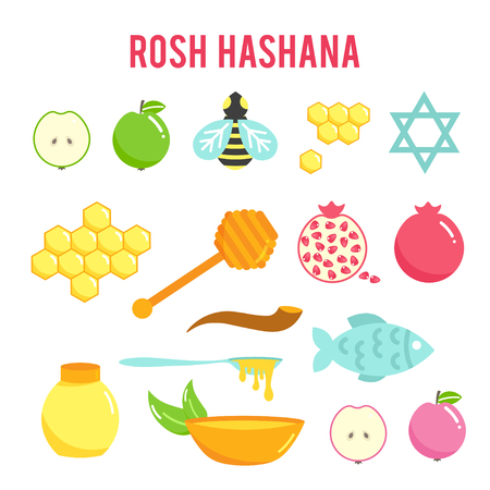 Jewish New Year Rosh Hashanah flat icons set, Shana Tova, Jewish New year holiday. Illustration