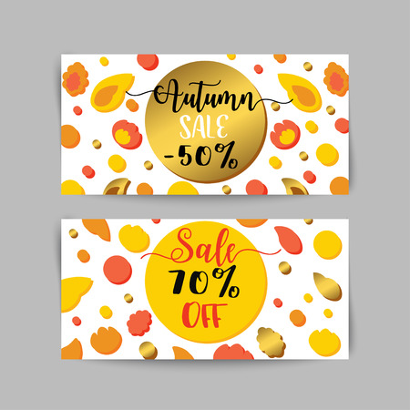 Autumn Sale Banners And Ads Web Template Set Golen Fall Flyer