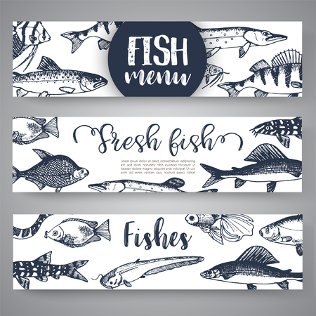 Fish sorts and types. Hand drawn vector illustrations. Lake fish in line art style. Vector sea and ocean creatures for seafood menu design.  イラスト・ベクター素材