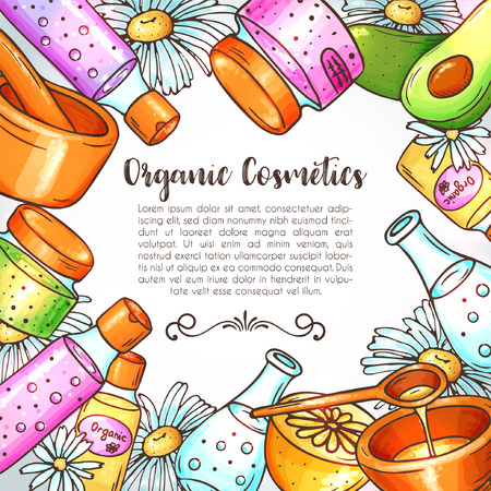Organic cosmetics illustration. Beauty set. Hand drawn spa and aromatherapy elements. Cartoon vector sketch of natural cosmetic. Herbal serum and oil