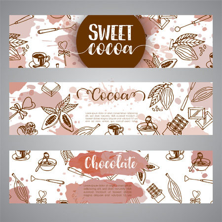 Chocolate cacao sketch banners. Design menu for restaurant, shop, confectionery, culinary, cafe, cafeteria, bar. Cocoa beans line icon or emblem.