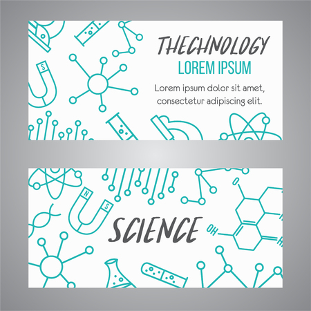 Science banners set. Research outline icon. Tiny line vector elements. Laboratory and education brochure.Medicine, technology, chemisrty cards design
