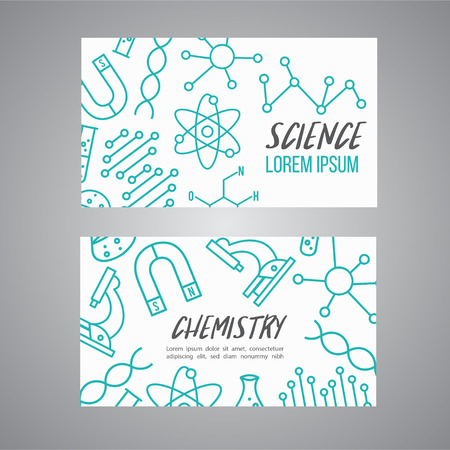 Science, chemistry cards set. Research outline icon. Tiny line vector elements. Laboratory and education brochure. Vector Illustration
