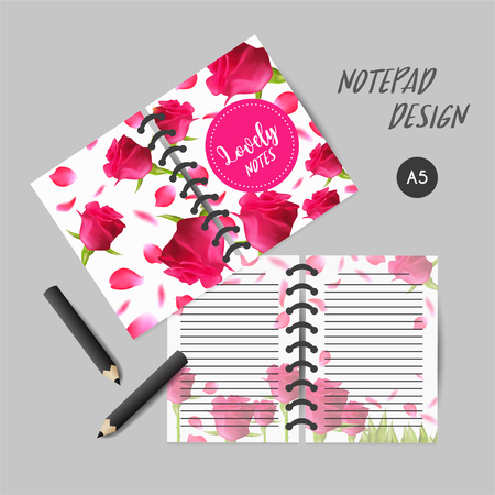 Cover design for notebooks or scrapbooks with roses. Daily Planner Template with pink petals. Illustration