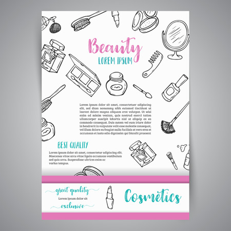 Makeup business brochure and banner. Cosmetics items. Advert for shop, beauty salon, flyer design, web template. Vector illustration Standard-Bild - 98004121