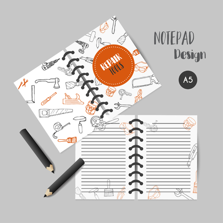 Bussiness planner Home improvement construction tools hand drawn notes. Printables for men