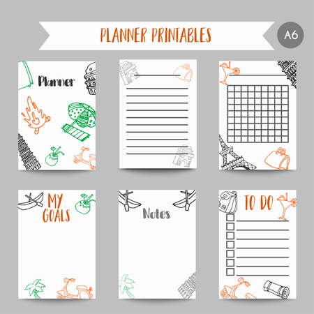 Cards and symbols for organized you planner. Printables with tarvel elements. Eiffel tower design. Vector Template for notebooks, scrapbooking