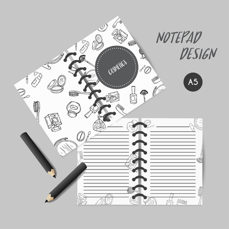 Make up products Cover design for notebooks or scrapbooks with doodle beauty items. Collection of brushes, nail polishes, lipsticks