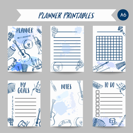 Planner with Music Instruments organizer design. Hand drawn drum, piaono, violin, guitar and saxophone on paint splashes. To do list journal notes for school