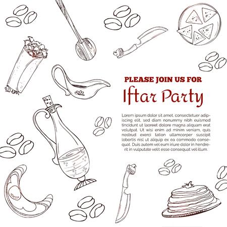 Iftar Party invitation card. Arabic background. Ramadan greeting card Vectores