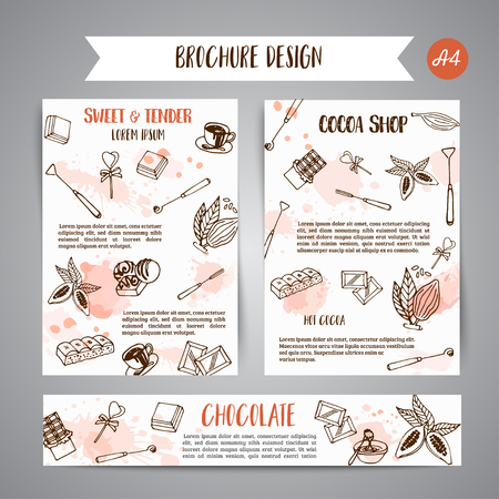 Chocolate cacao sketch brochure i banners. Design menu for restaurant, shop, confectionery, culinary, cafe, cafeteria, bar. Cocoa beans line elements. Vector illustration