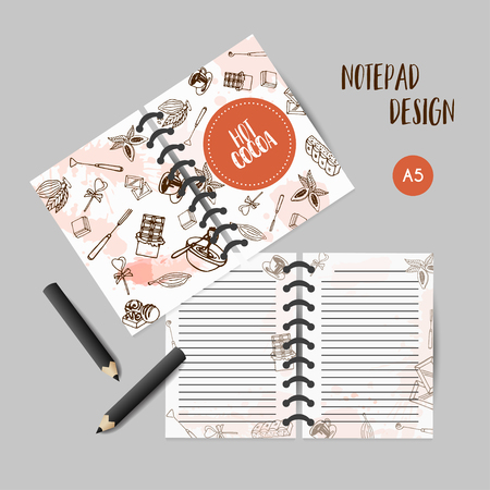 Chocolate cacao sketch planner. Cocoa organizer. Design for restaurant, shop, confectionery.Notes for bar, cafe. To do list. Vector illustration.