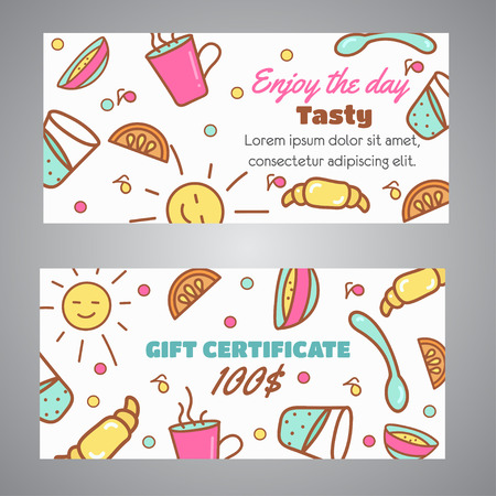 Gift Certificate text with Enjoy the Day slogan and coffee and tea design line icons.