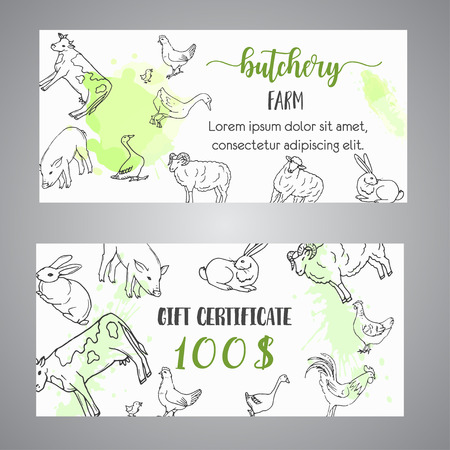 Butchery gift voucer Hand drawn farm animals brochure with reward coupon. Local farm certificate. Farming illustration. Vector farm elements. Hand sketched goose, rooster, chicken