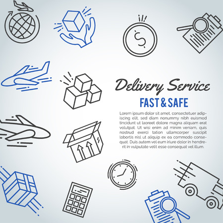 Delivery line icon business brochure. Shipment text. Logistic service card Vector illustration. 일러스트