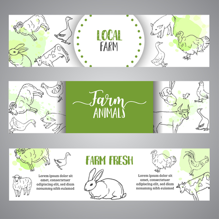 Butchery horizontal banner. Hand drawn farm animals banners. Farming illustration. Vector farm elements. Hand sketched goose, rooster, chicken 矢量图像