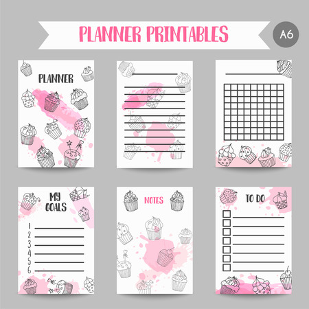 Cupcake printables with handdrawn cupcakes and pink splashes. Planner with sweet pastry. Cute note template for srapbook Organizer template