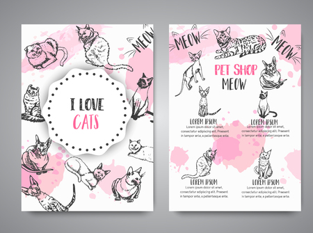 Cards with cat breeds. Cats lovers club Vector illustration Cute kitten sketch I love cats text Vector template banners for poster, invitation, flyer, party, brochure Illusztráció