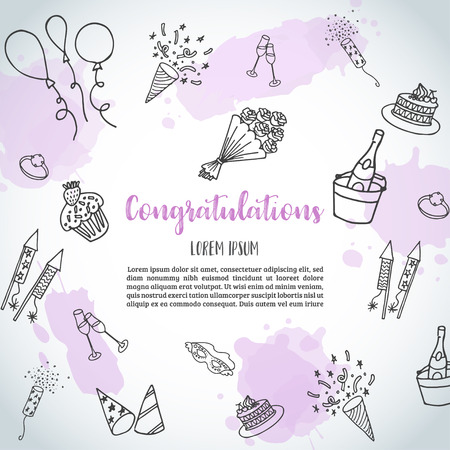 Birthday party doodle background. Vector template banners for poster, invitation, flyer, party, wedding, brochure with hand drawn party elements Congratulations text