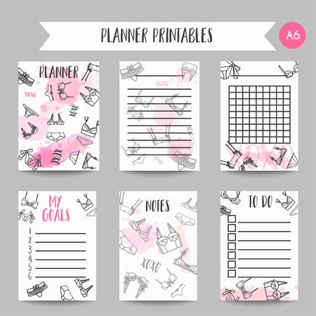 Lingerie Fashion bra and panties notes. Fashion printables Planners for lady, bridal organizer Vector