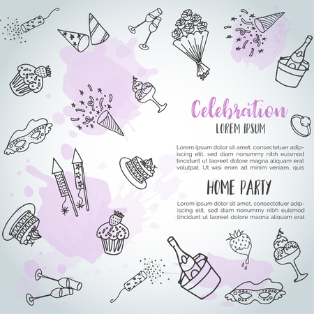 Birthday party doodle background card. Vector template banners for poster, invitation, flyer, party, wedding, brochure with hand drawn elements Home party